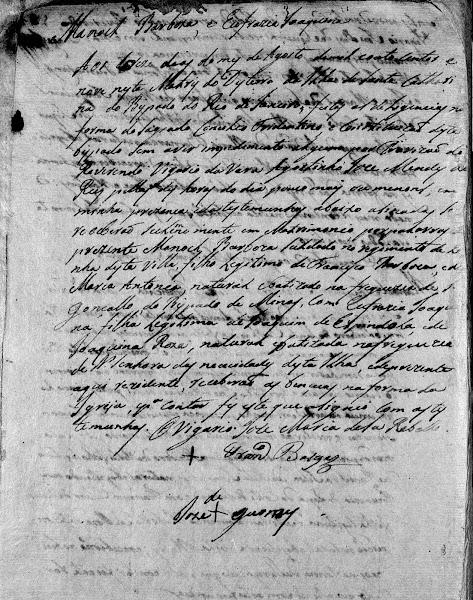 Reg. de casamento de Manoel Barbosa Sandoval com Eufrásia Joaquina Rosa - 1809