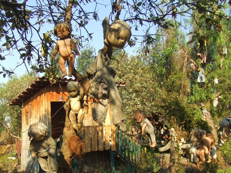 Island of the dolls in Mexico.