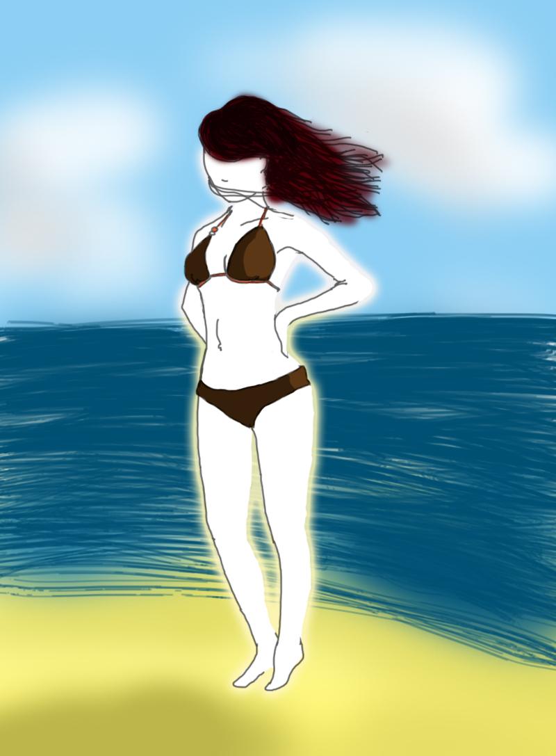 blanche à la plage