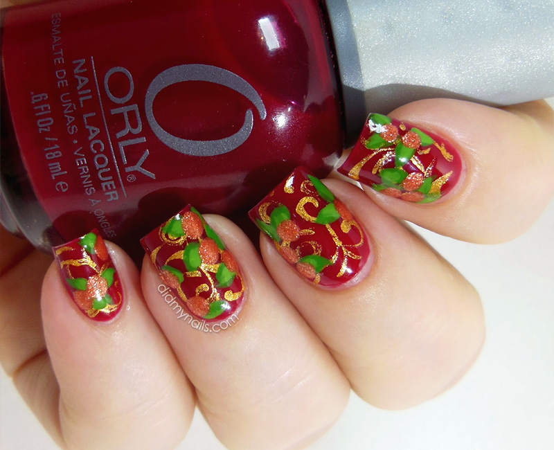 Chinese New Year nail art oranges
