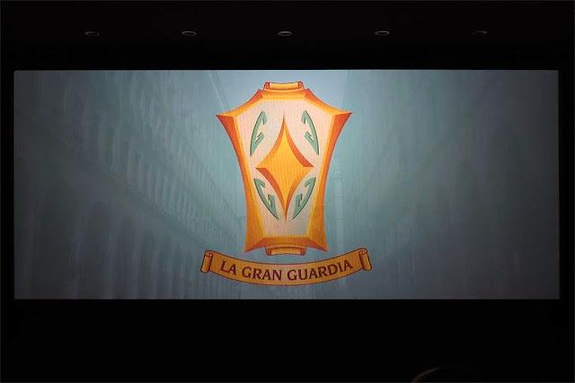Logo de La Gran Guardia, schermo del nuovo cinema, Livorno