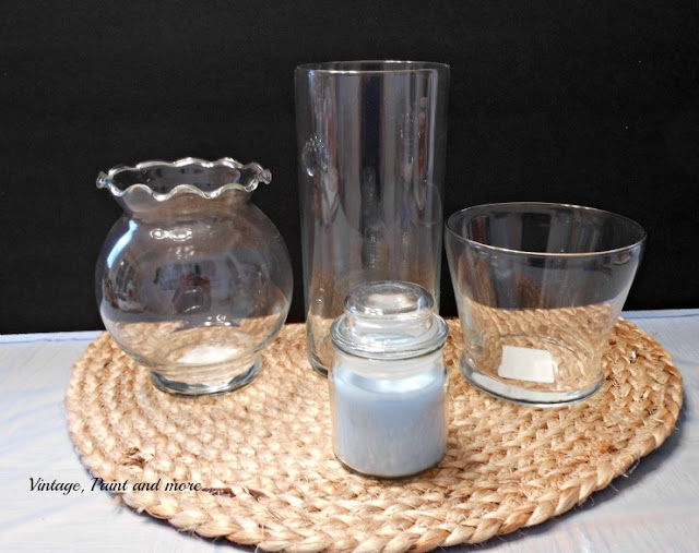 Vintage, Paint and more... Dollar Tree glassware to be used to make DIY hobnail glass