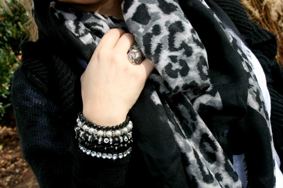 Animal Print Scarf from TJ Maxx and lots of DIY bracelets