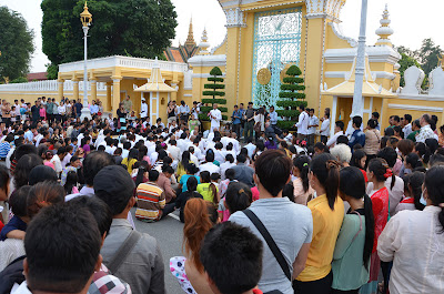 Death of King Norodom Sihanouk, mourners at Victory Gate, Royal Palace, Phnom Penh, Cambodia