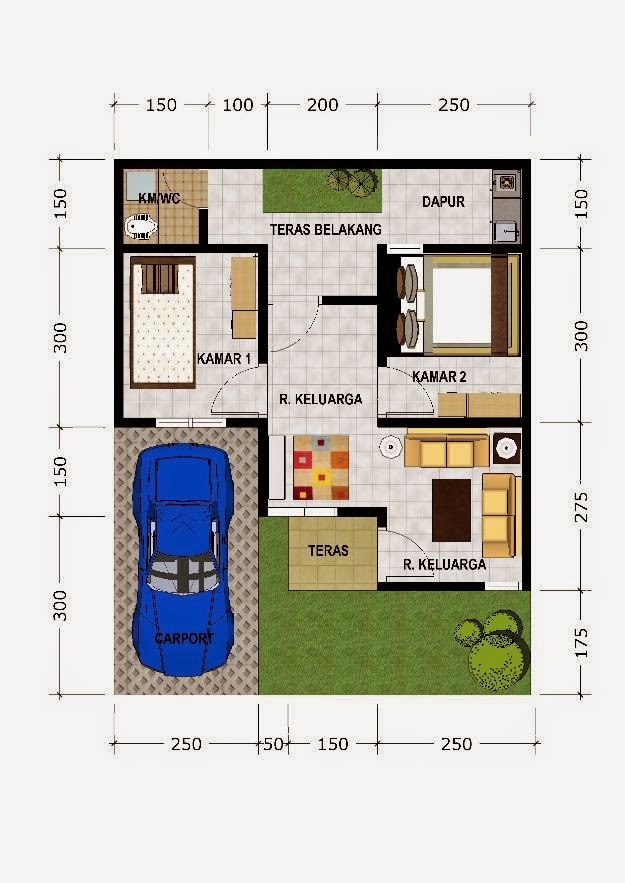 denah rumah type 45 minimalis griya inspiratif