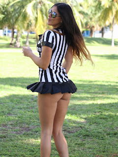 Claudia Romani exposing   Cheeks  Forgot To Wear  Embarred as a  Referee