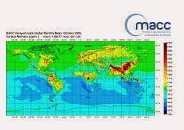 Atmospheric methane concentrations are monitored by MACC using its atmospheric transport model together with observations from the European SCIAMACHY satellite instrument. Click to enlarge.