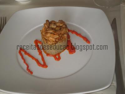 Puré de Lentilhas com Frango grelhado e pimentos confitados