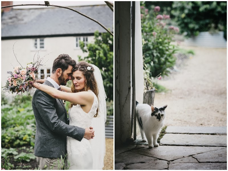 Bride and groom and cat at River Cottage HQ in Devon