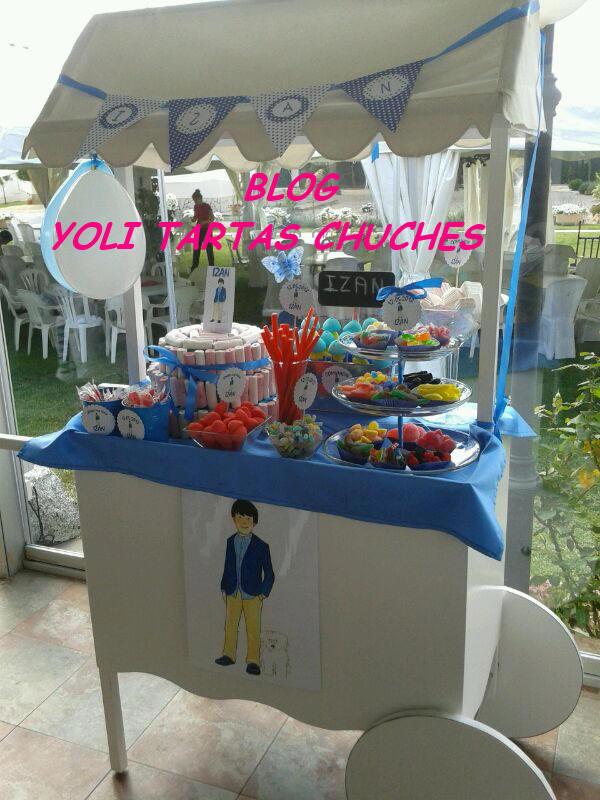 Yoli tartas chuches candy bar para comunion de izan - Carro de chuches comunion ...