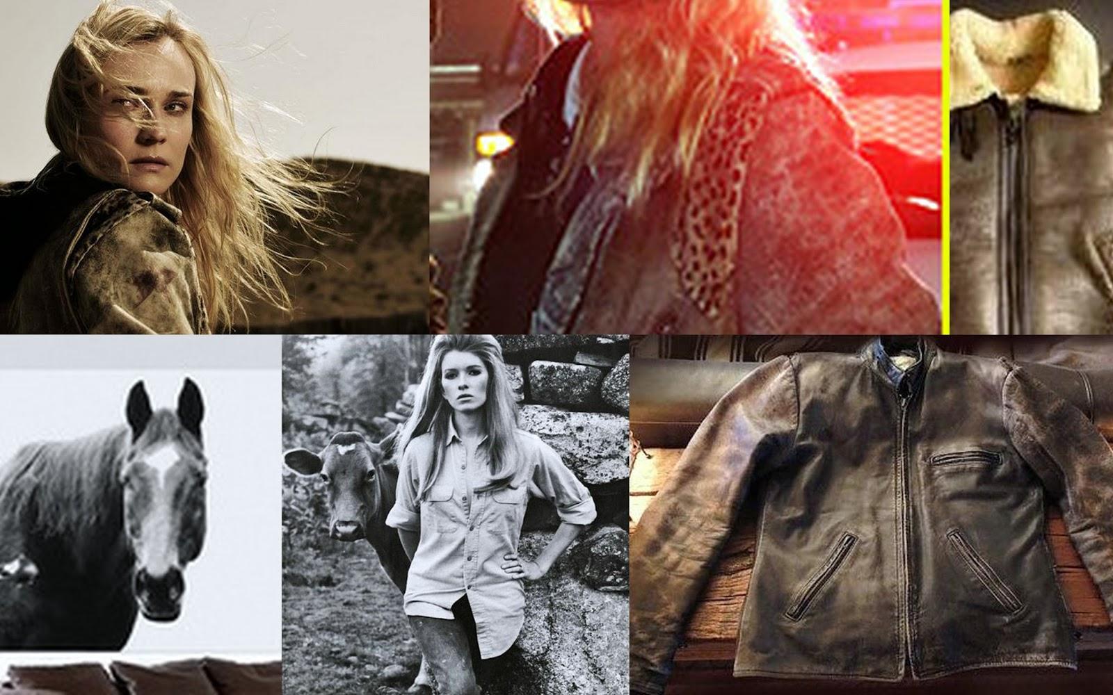Diane Kruger The Bridge, Diane Kruger style, vintage leather jacket, Horse print, Denim shirt, western fashion, best leather jackets