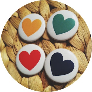 Heart Buttons blue yellow red green