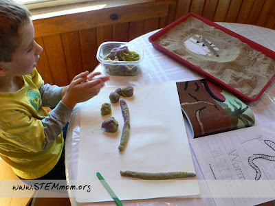 Boy making playdough earthworm and castings: STEMmom.org
