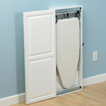 Charmant This Is The Wall Mounted Ironing Board With A Slide White Wood Cabinet Door.