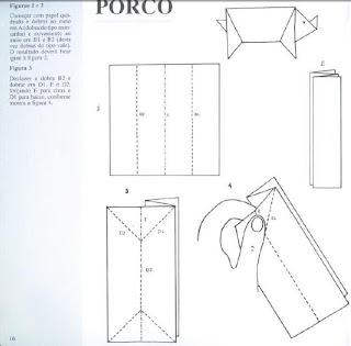 Origami - Dobraduras de papel machê. Porco.