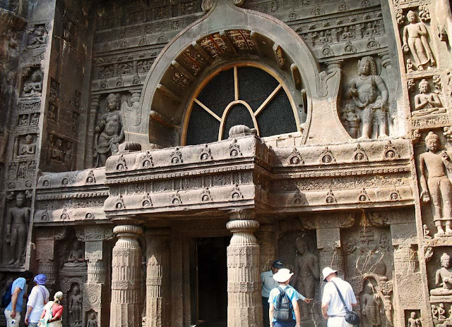 beautiful sculptures at Ajanta in Aurangabad