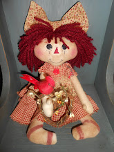 RAGGEDY DOLL WITH FULL HEAD OF HAIR & GRAPEVINE WREATH HEART WITH CARDINAL