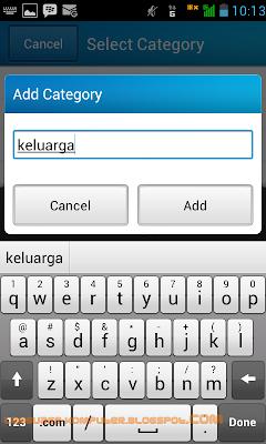 tambah kategori kontak bbm android