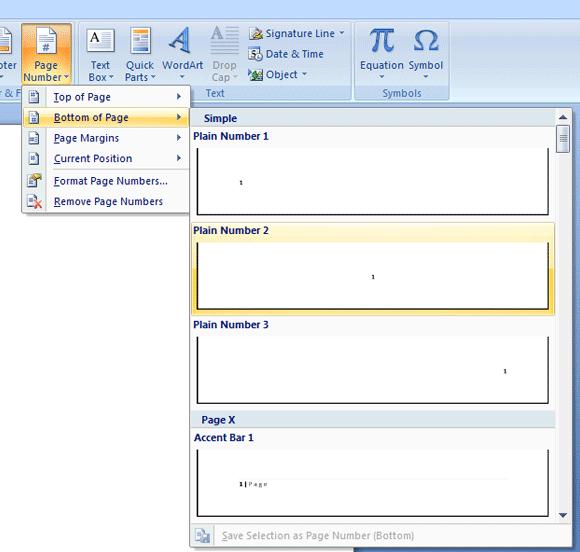 Centang kotak pilihan Different First Page pada menu ribbon Design.