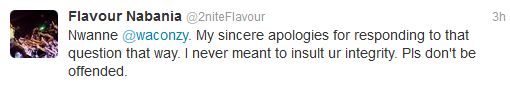 Waconzy replies Flavor + FLAVOR Apologises for his Silly Utterance .