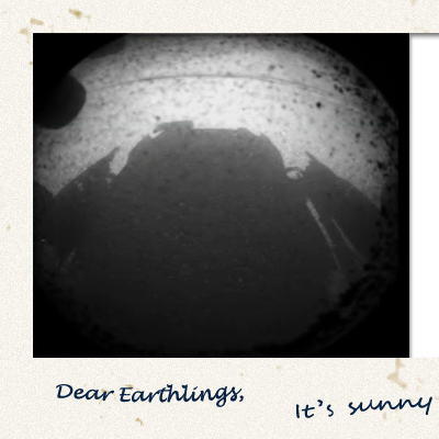 Polaroid from Curiosity, the Mars Science Laboratory robotic rover, that landed successfully on Mars on 6th August 2012. NASA/JPL.