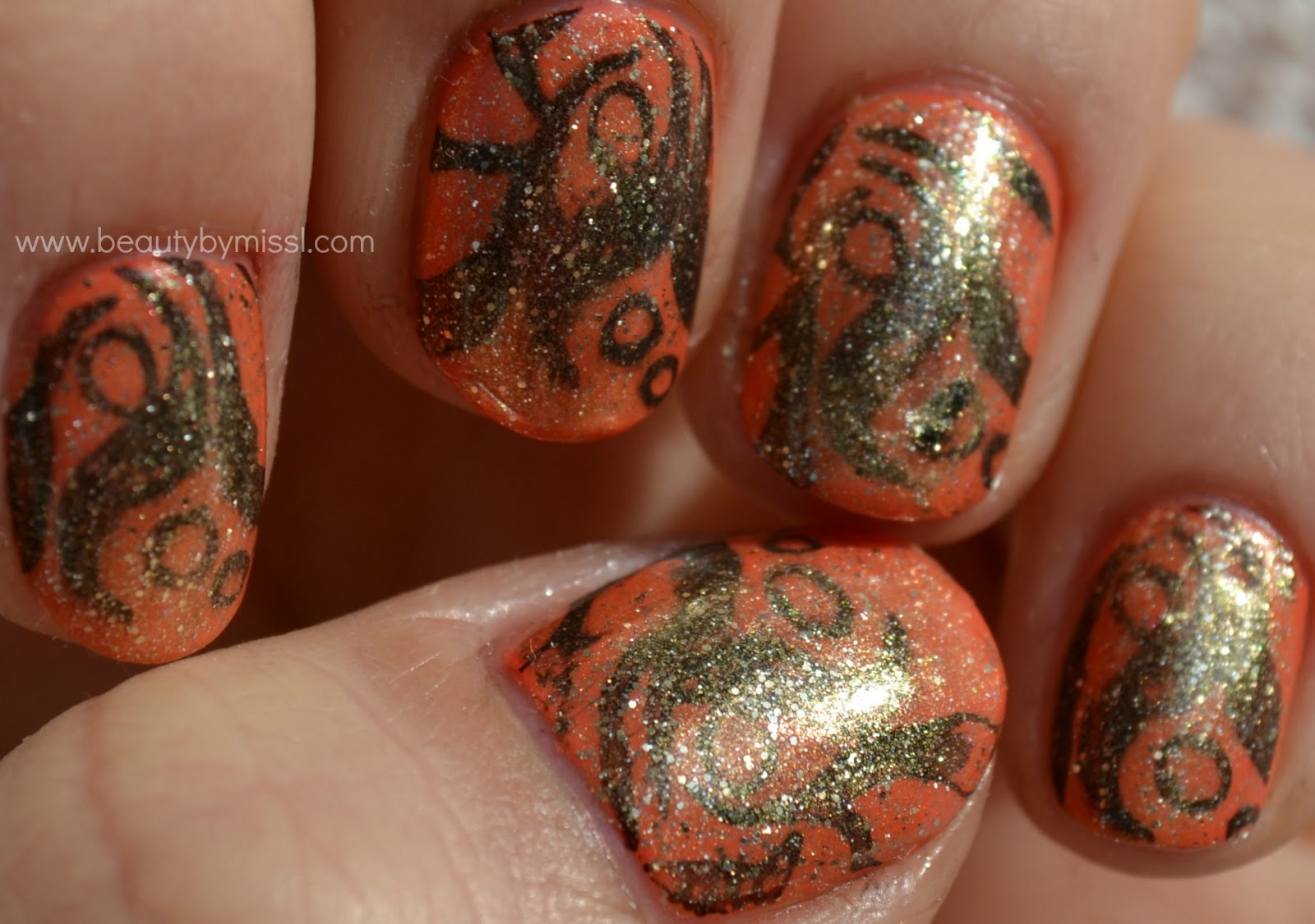 layering manicure, stamping