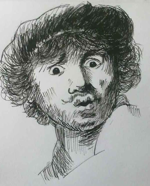 autorretrato de rembrandt con tinta