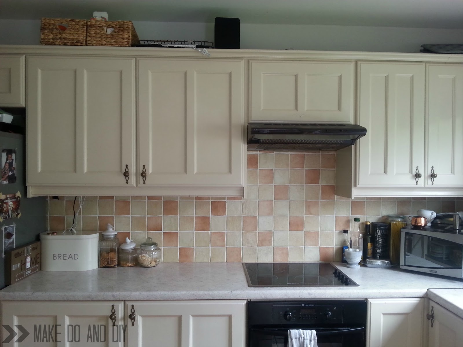 Kitchen Backsplash Easy Cheap painted tile backsplash-cover those ugly tiles! ~ make do and diy