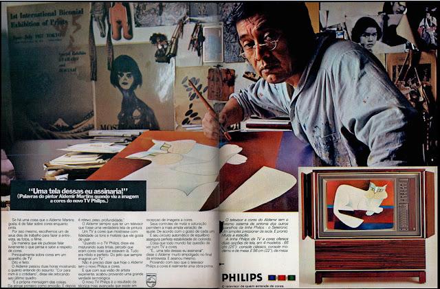 propaganda TV a cores Philips - com Aldemir Martins - 1975. 1975, os anos 70; propaganda na década de 70; Brazil in the 70s, história anos 70; Oswaldo Hernandez;