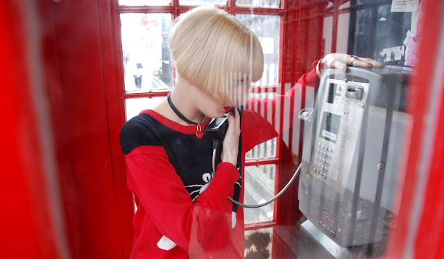 cat jumper, phone box, London, fashion
