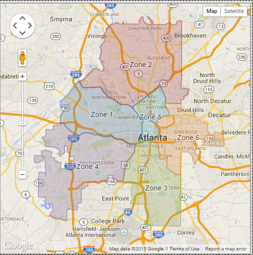 Atlanta Police Department Zone Map