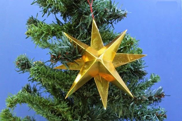 Manualidades para navidad linda estrella de papel - Manualidades para decorar el arbol de navidad ...
