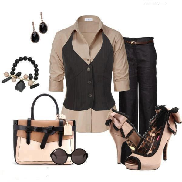 Shirtdress, pants, high heel sandals, sunglasses and hand bag for ladies