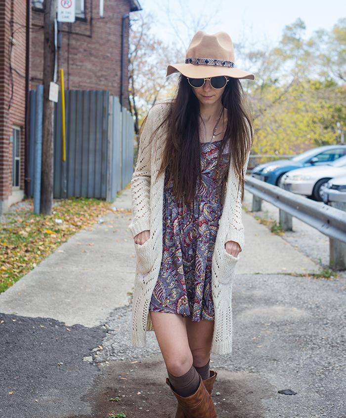 Paisley-dress-cardigan-fedora-womens-fashion-blog