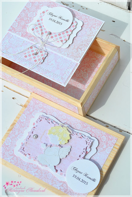 drewniane, sosnowe, pudełko na zdjęcia scrapbooking