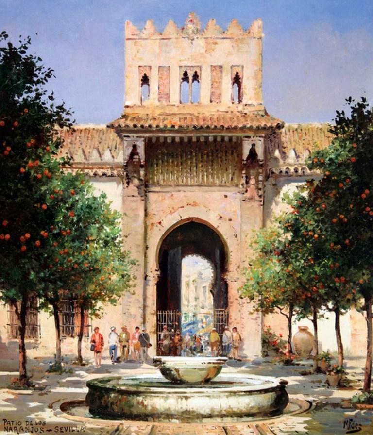 Cuadros modernos pinturas y dibujos paisajes - Casas viejas al oleo ...
