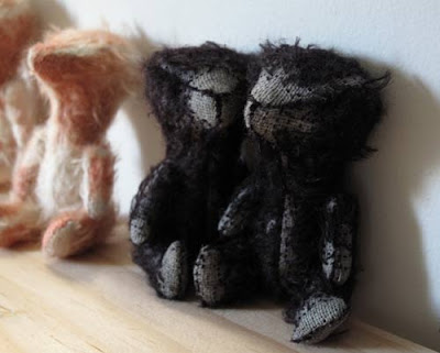 miniature mohair black antique stick bears
