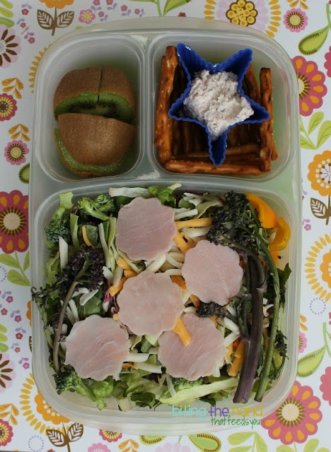 Use leftovers and scraps from cutting shapes out of deli meats and cheeses in a Chef Salad!