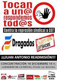 Concentración lunes 18 de diciembre, a las 10 horas en los juzgados de lo social de Cádiz, ante el