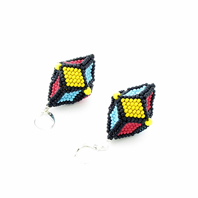 Earrings Yellow, Blue , Red
