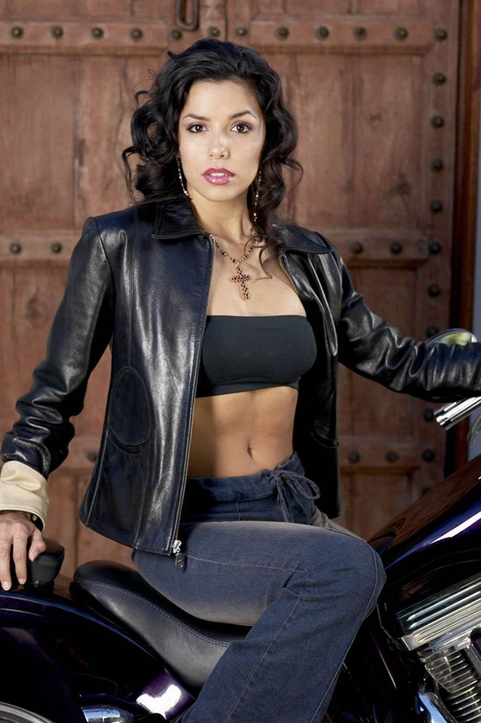 Eva Longoria leather and bike in Glen Campbell Photoshoot