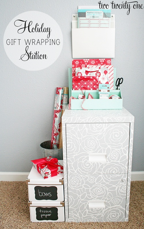 Organizing For Christmas Gift Wrapping Stations