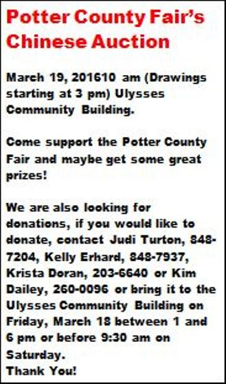 3-19 Potter County Fair's Chinese Auction