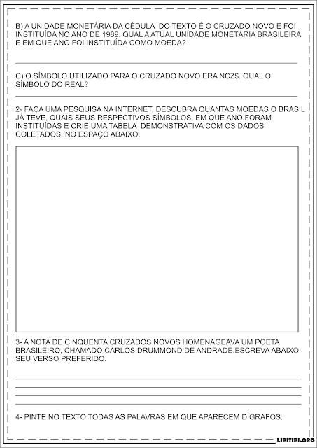Atividade Unidade Monetária Brasileira e Poesia Carlos Drummond de Andrade
