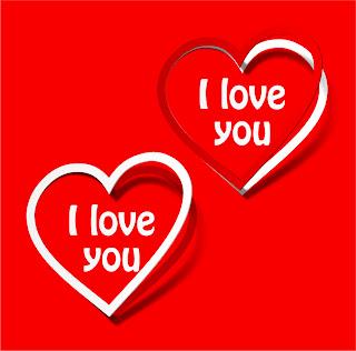 愛のハートで描く紅白の付箋 red and white love heart, sticky notes イラスト素材