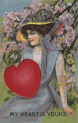 antique valentine postcard post card with beautiful lady heart and lilac