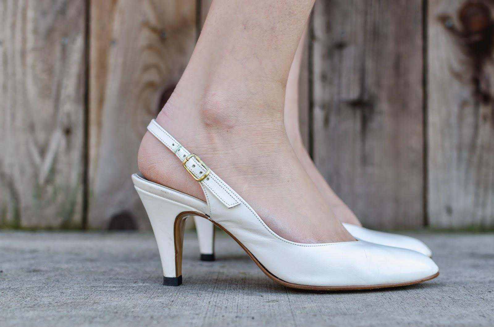 White Vintage Kitten Heels