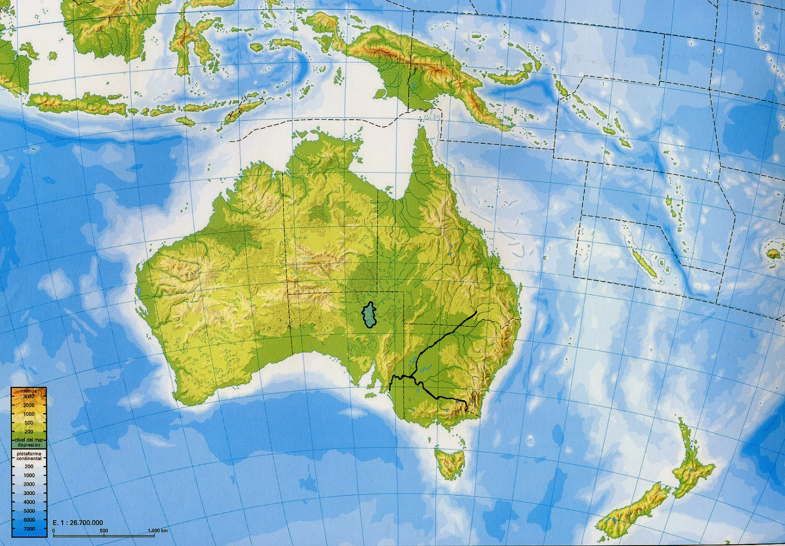 Geography And History Blog Asia And Oceania Physical Maps - Physical map of oceania