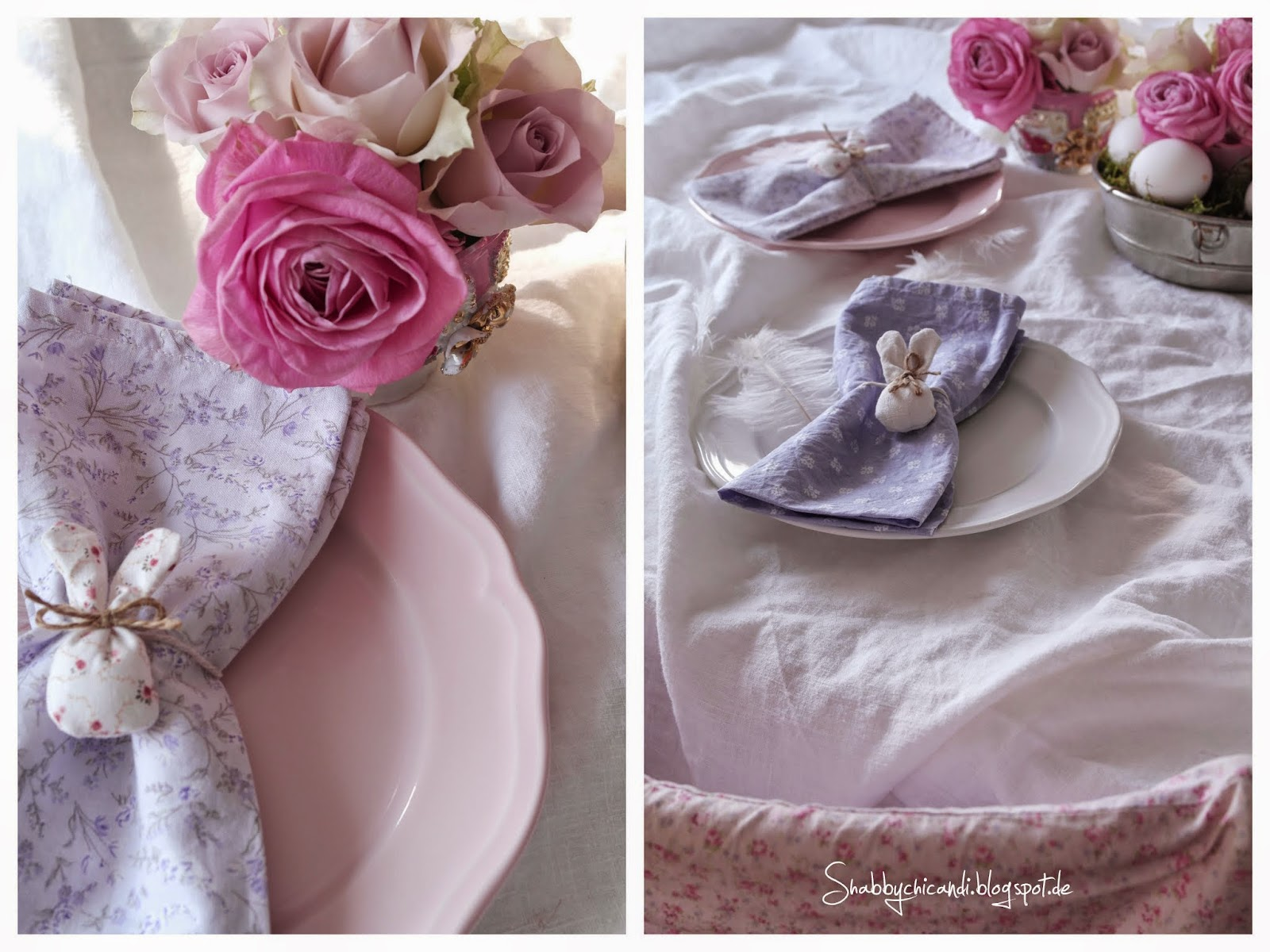 Shabby chic Easter Table Setting.