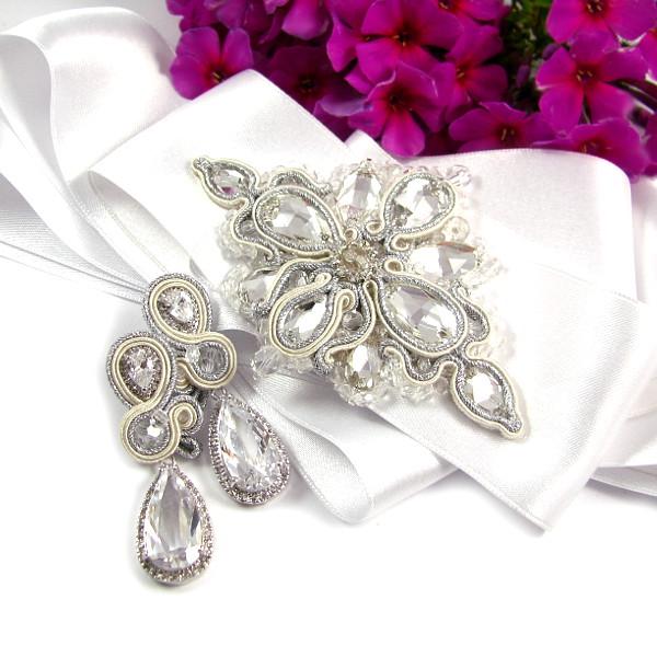 Aplikacja na suknię ślubną sutasz i kolczyki ślubne